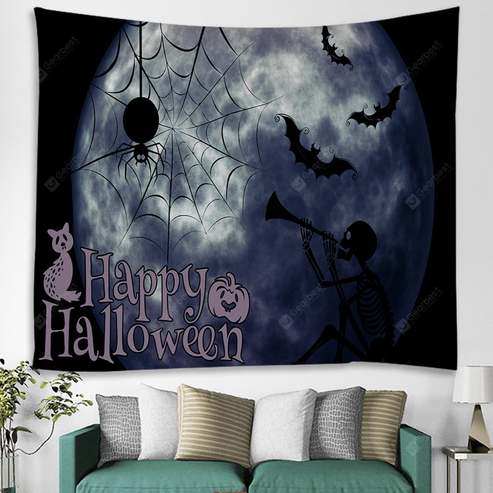 Halloween Horror Spider Moon Print Tapestry Tapestries