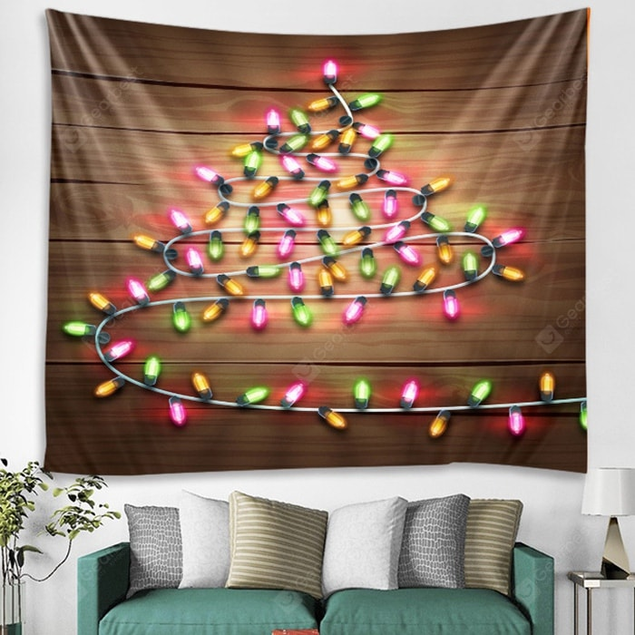 Small Lights Wooden Pattern Printed Tapestry Tapestries