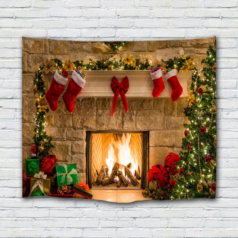 Christmas Tree Stove Socks Printed Polyester Brushed Tapestry Tapestries