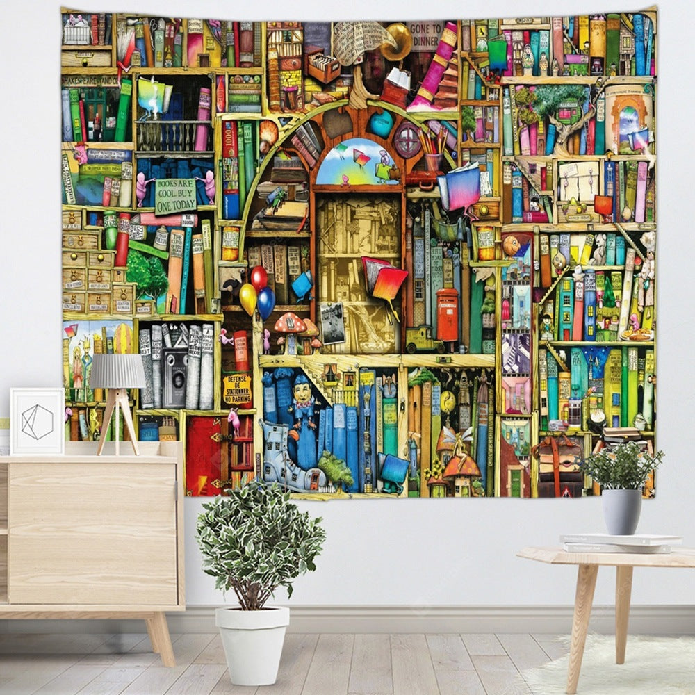 Colorful Bookshelf Printed Tapestry Tapestries