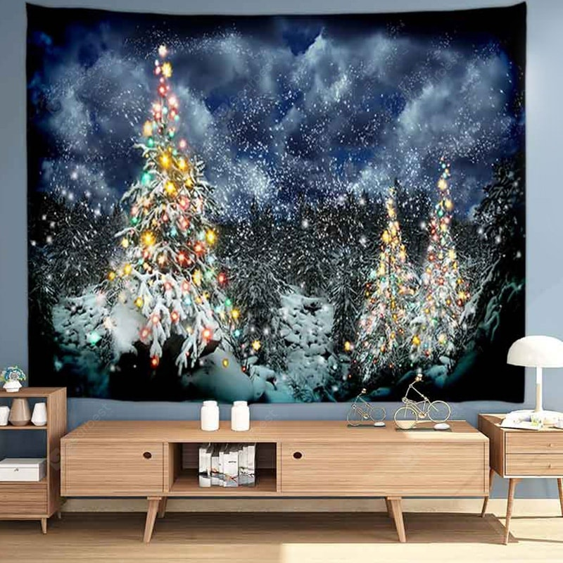 Snowy Night Colored Christmas Tree Digital Printed Tapestry Tapestries