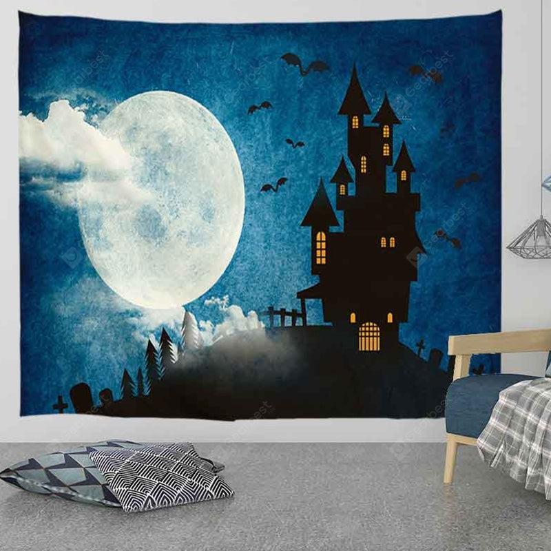 Castle Halloween Moon Digital Print Tapestry Tapestries