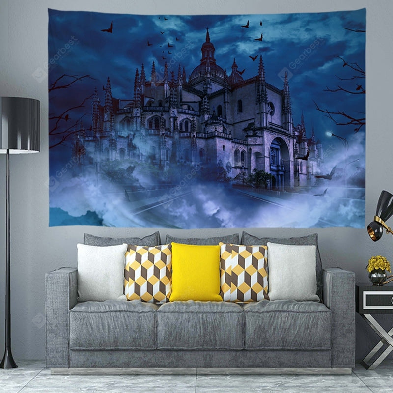 Halloween Castle Digital Print Tapestry Tapestries