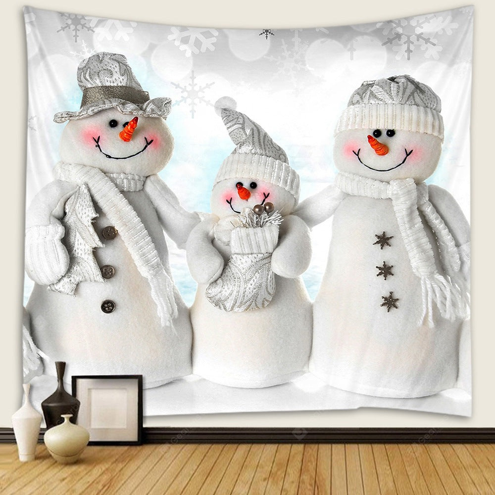 Christmas Snowman Pattern Tapestry Wall Background DIY Holiday Decoration Tapestries