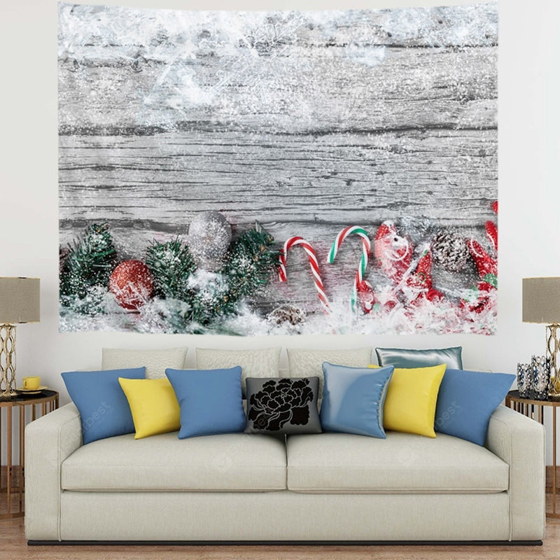 Christmas Gift Covered By Snow On The Floor Pattern Polyester Digital Printing Tapestry Wall Background DIY Holiday Decoration Tapestries