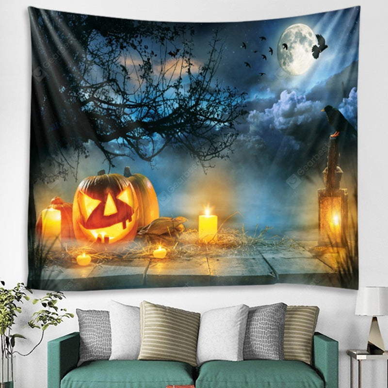 Halloween Pumpkin Light Pattern Tapestry Polyester Wall Background 3D Digital Printing DIY Decoration Tapestries