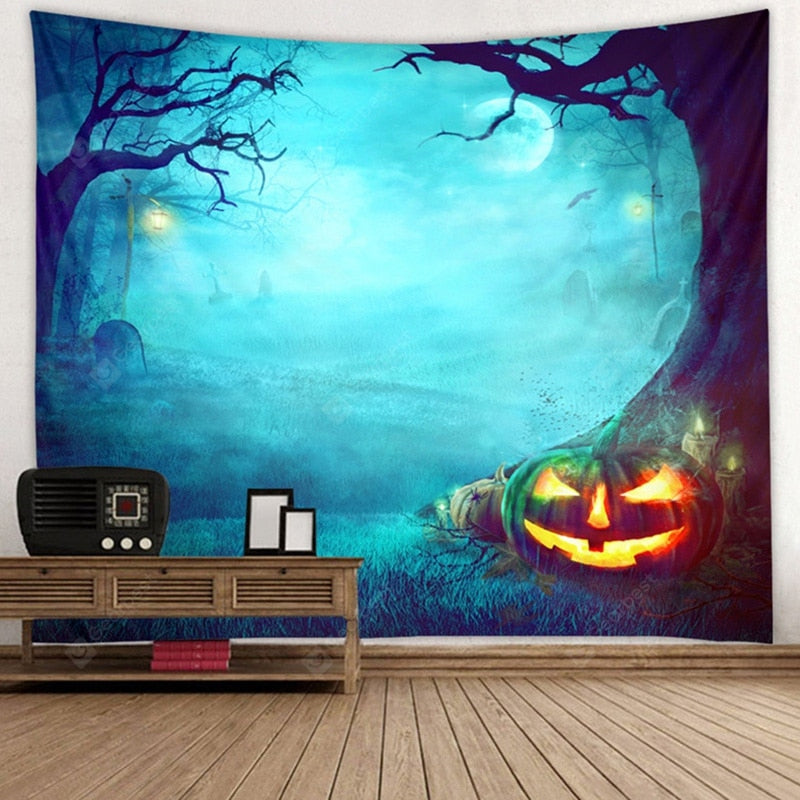 Halloween Forest Pattern Tapestry Polyester Wall Background 3D Digital Printing DIY Decoration Tapestries