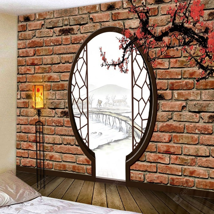 Antique Plum Blossom Door Pattern Tapestry Polyester Wall Background 3D Digital Printing DIY Decoration Tapestries
