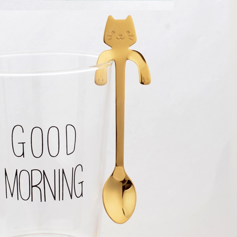 Fashion Piece Cute Cat Spoon Long Handle Spoons Flatware Drinking Tools Kitchen Dinnerware