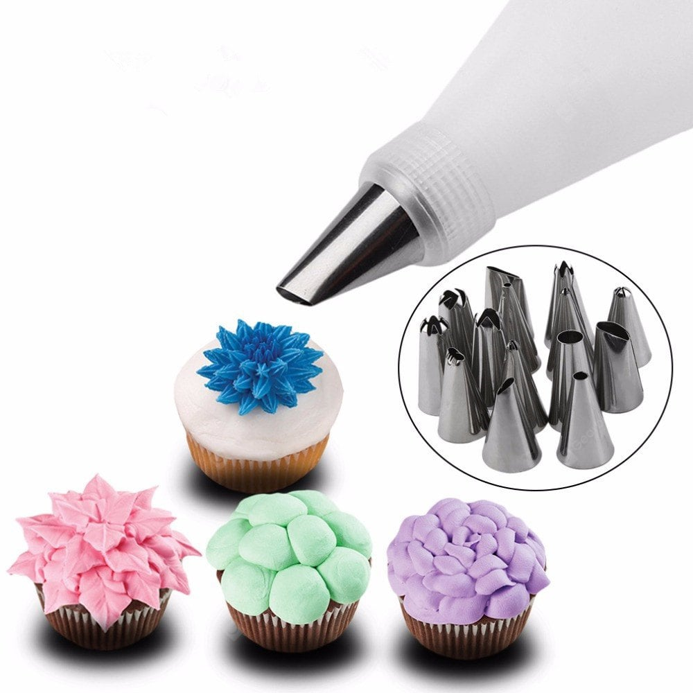 Kitchen Accessories Icing Piping Cream Pastry Bag Stainless Steel Nozzle Set DIY Cake Decorating Tips Cookware