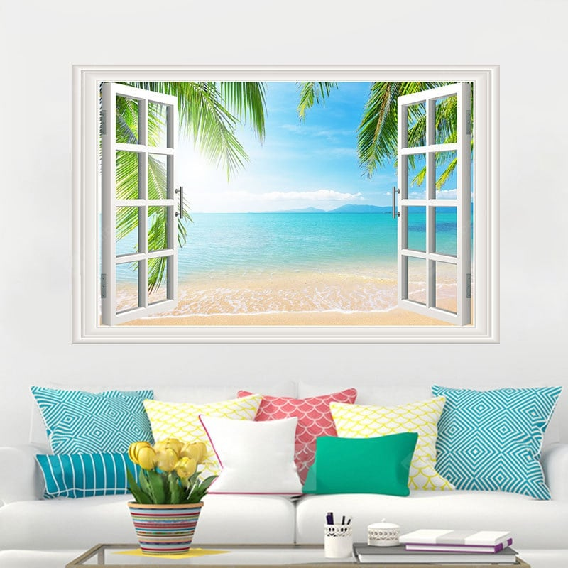 Sandy Beach Movable PVC Window Film Wall Sticker For Home Decoration Wall_Art