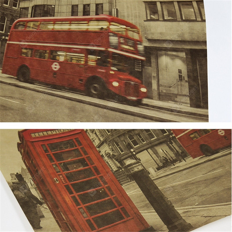 Retro Poster London Red Bus and Telephone Booth Wall Stickers Wall_Art