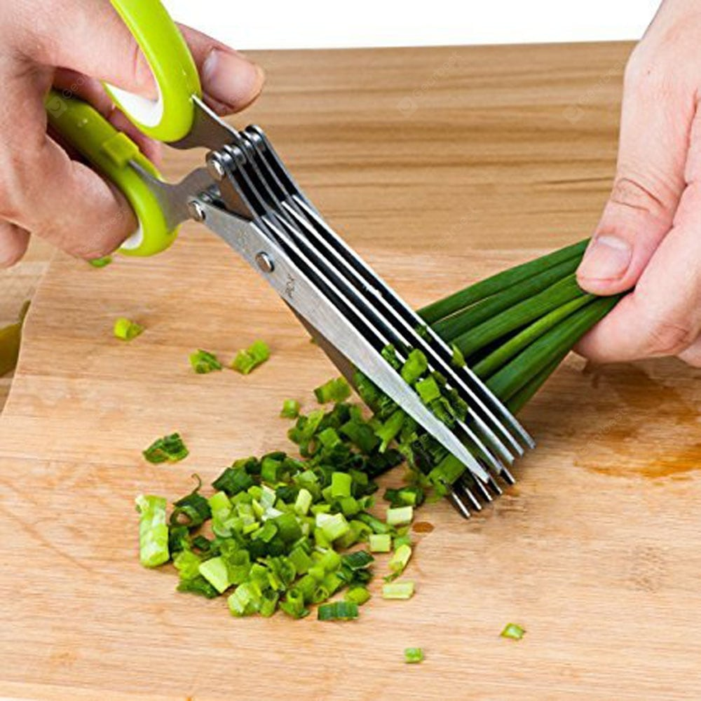 Herb Scissors Multipurpose Kitchen Mincing Shear 5 Blades and Cover Stainless Steel Bakeware