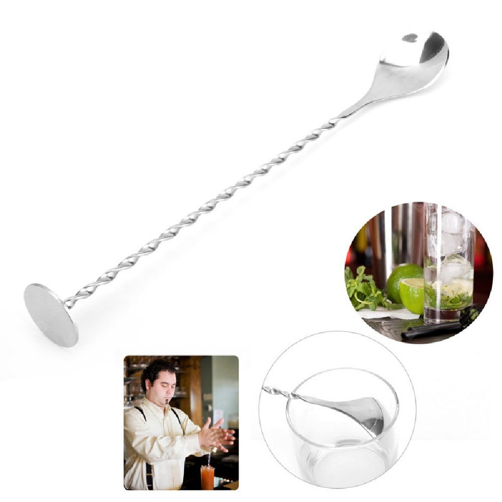 YEDUO Stainless Steel Threaded Bar Spoon Swizzle Stick Coffee Cocktail Mojito Wine Spoons Barware Bartender Tools Barware
