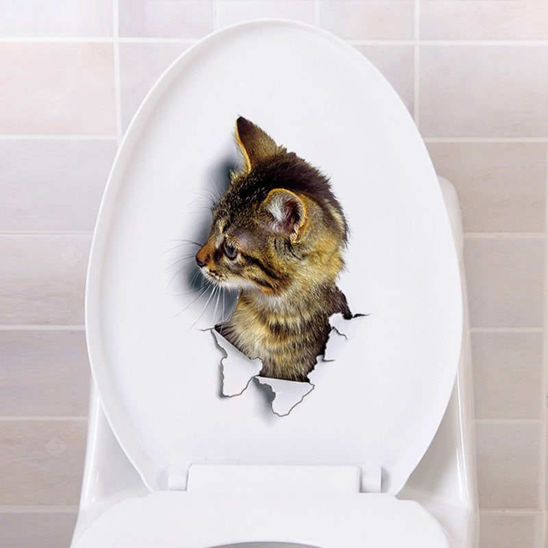 YEDUO Hole View 3D Cats Wall Sticker for Animal Toilet Wall_Art