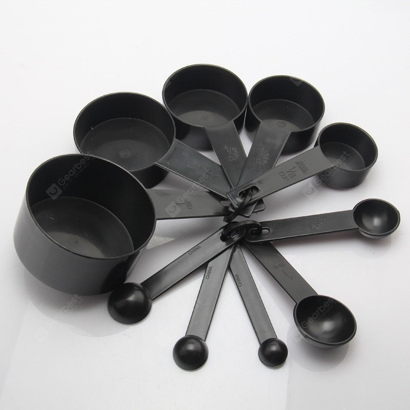 Black Plastic Measuring Cups 10PCS / LOT Measuring Spoon Kitchen Tools for Baking Coffee Tea Bakeware