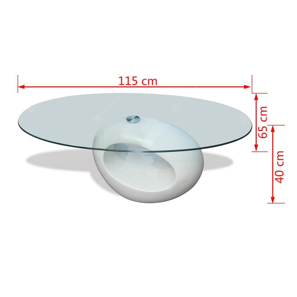Coffee Table with Oval Glass Top High Gloss White Barware