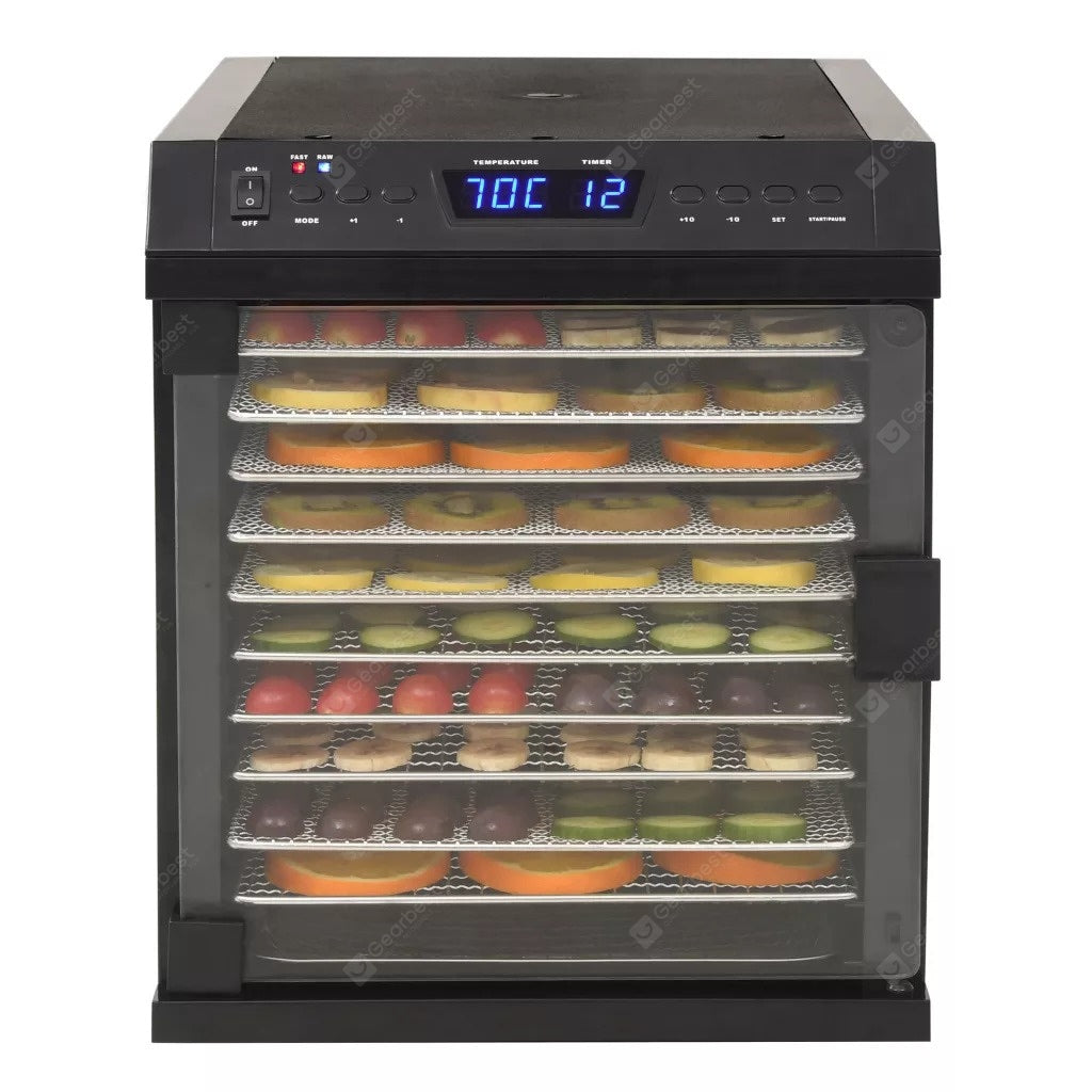 Food Dehydrator Stainless Steel with 11 trays 480W Black Bakeware