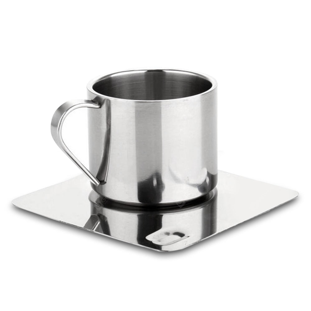 Stainless Steel Coffee Tea Cup with Saucer Spoon Double Wall Hot and Cold Drinks Thermal Mugs Drinkware