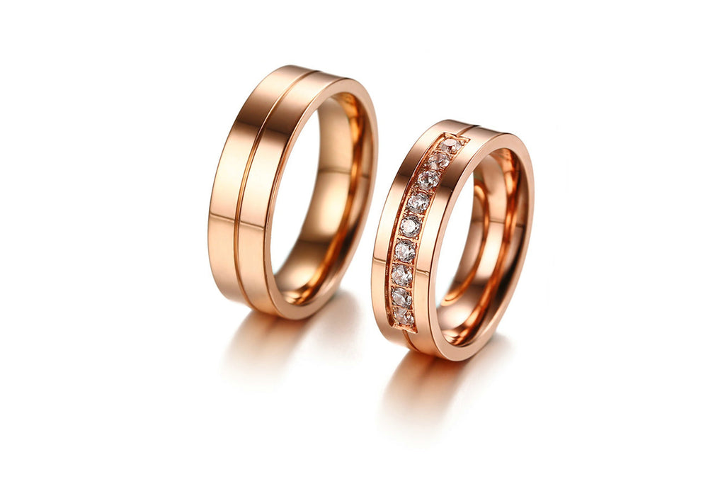 Wedding Rings for Women Stainless Steel Cylindrical Rose Gold