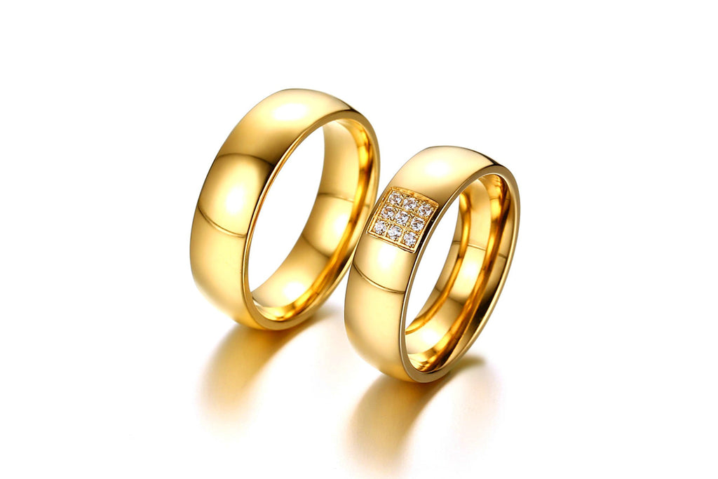 Promise Rings for Women Stainless Steel Circle Gold