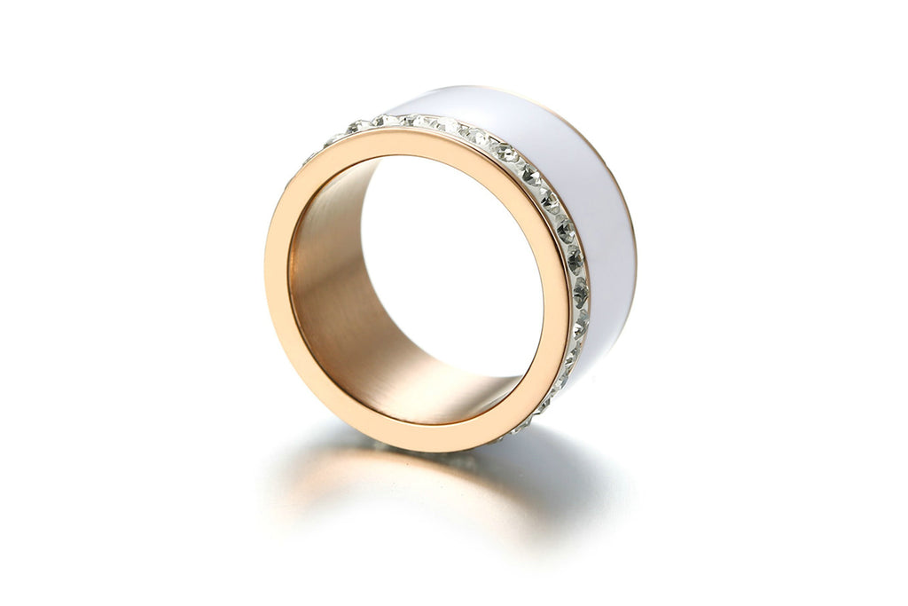 Promise Rings for Women Stainless Steel Cylindrical Gold