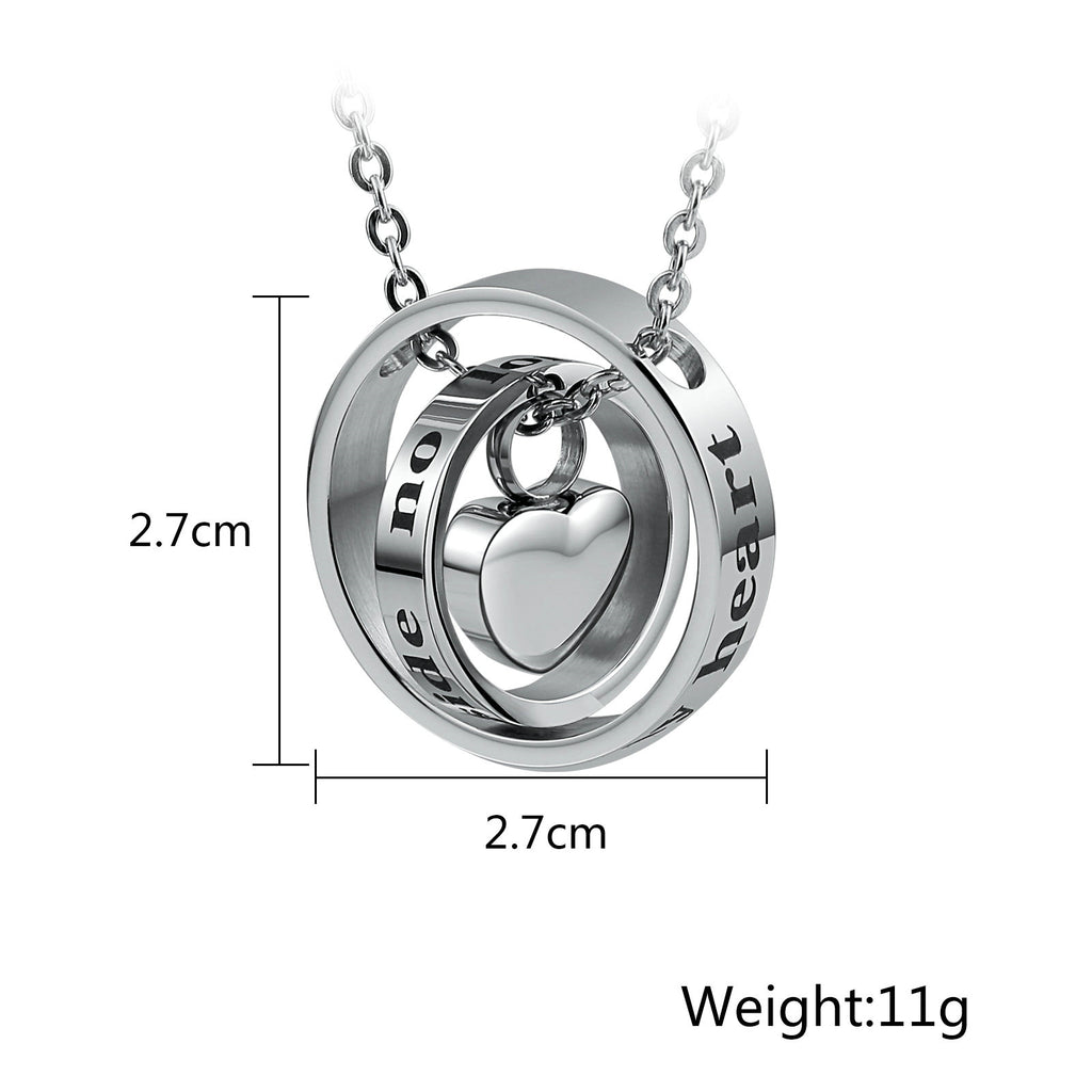 Urn Necklace Cremation Necklace Stainless Steel Silver Hoop 2.7 x 2.7cm