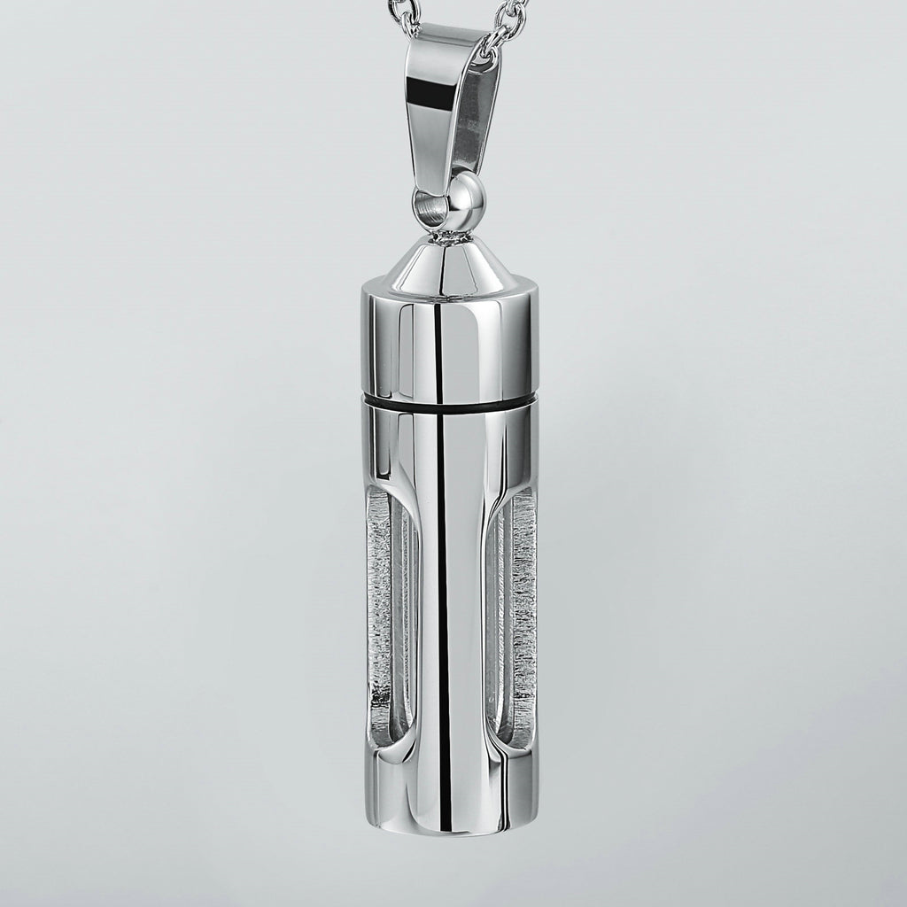 Urn Necklace Cremation Necklace Stainless Steel Silver Cylinder 4.3 x 1cm