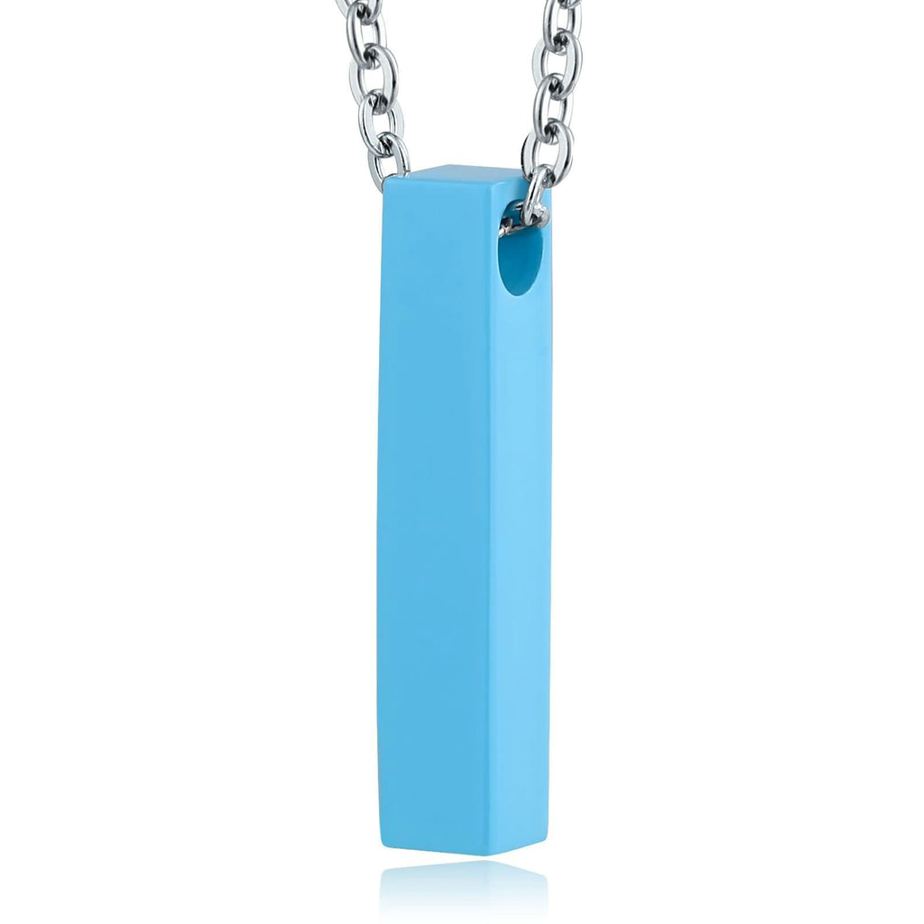 Ashes Necklace Keepsake Pendant Stainless Steel Silver Rectangle Engravable 0.5 x 3cm