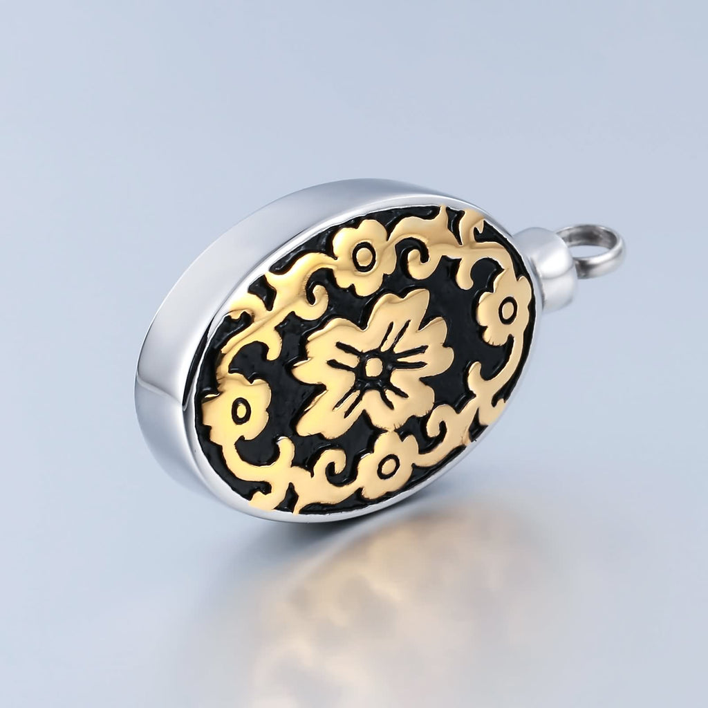 Urn Necklace Cremation Pendant Stainless Steel Oval Engravable 2.2 x 4.5cm