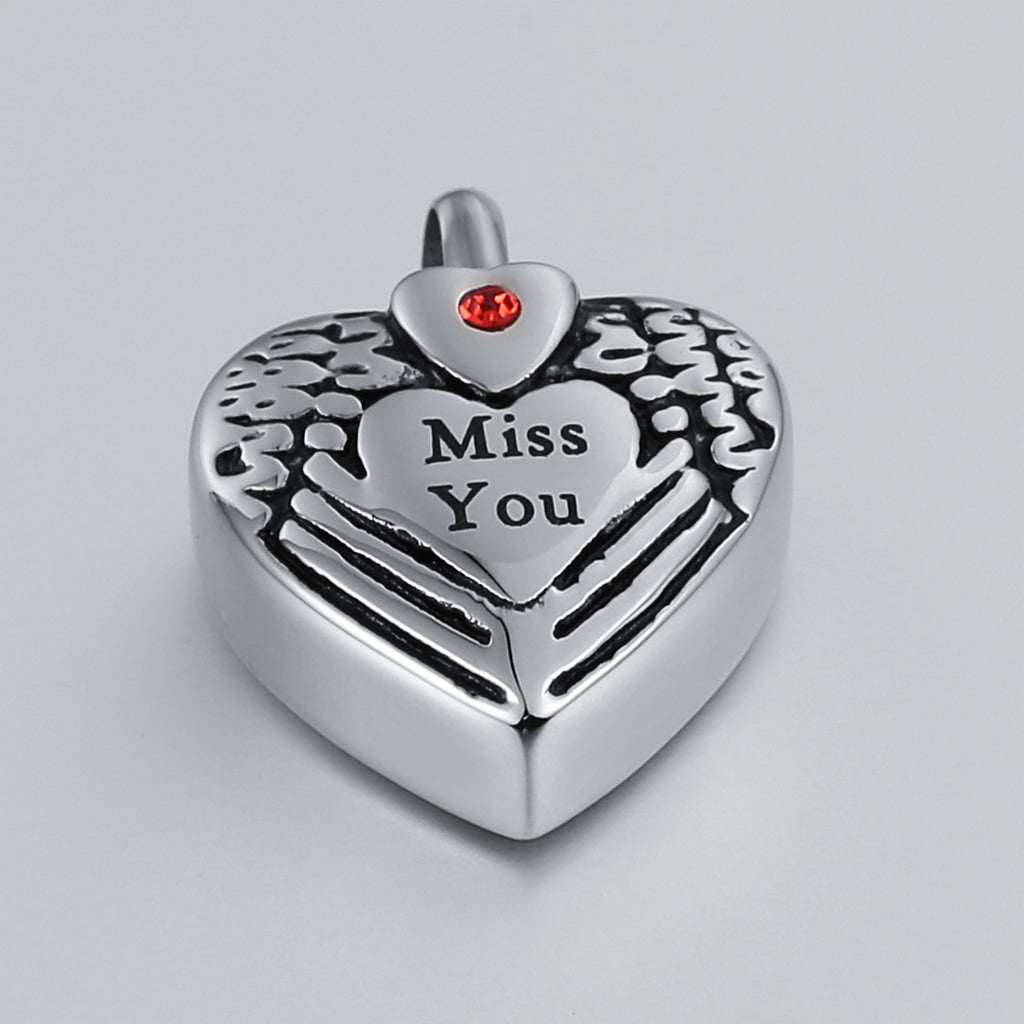 Urn Necklace Cremation Necklace Stainless Steel Heart Engravable 1.8 x 2.5cm