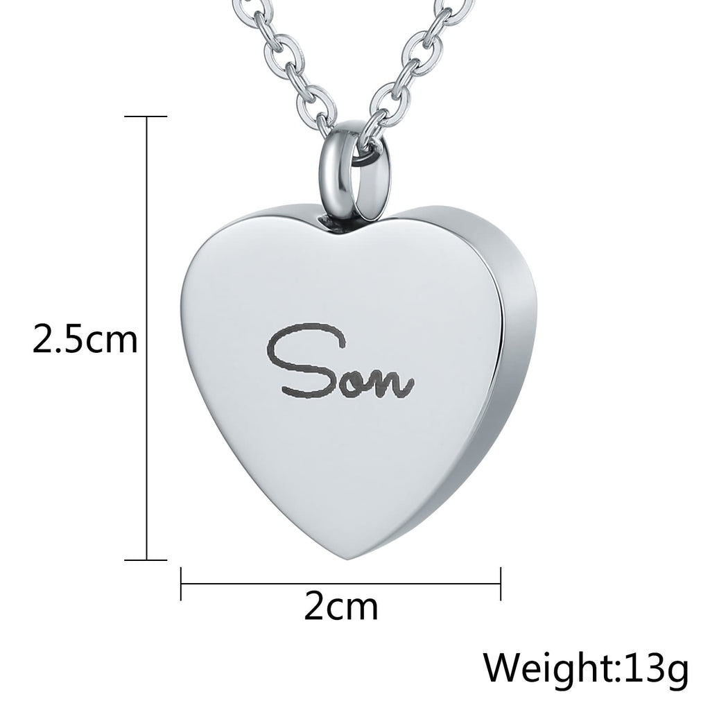 Ashes Urn Necklace Stainless Steel Cremation Jewelry Heart Engravable 2 x 2.5cm