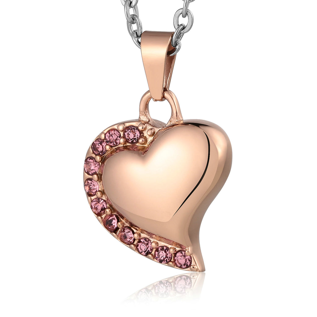 Ashes Necklace Keepsake Pendant Stainless Steel Rose Gold Heart 2 x 2.2cm