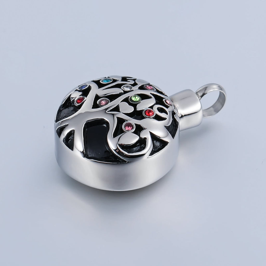 Urn Necklace Cremation Pendant Stainless Steel Circle Engravable 2 x 3cm