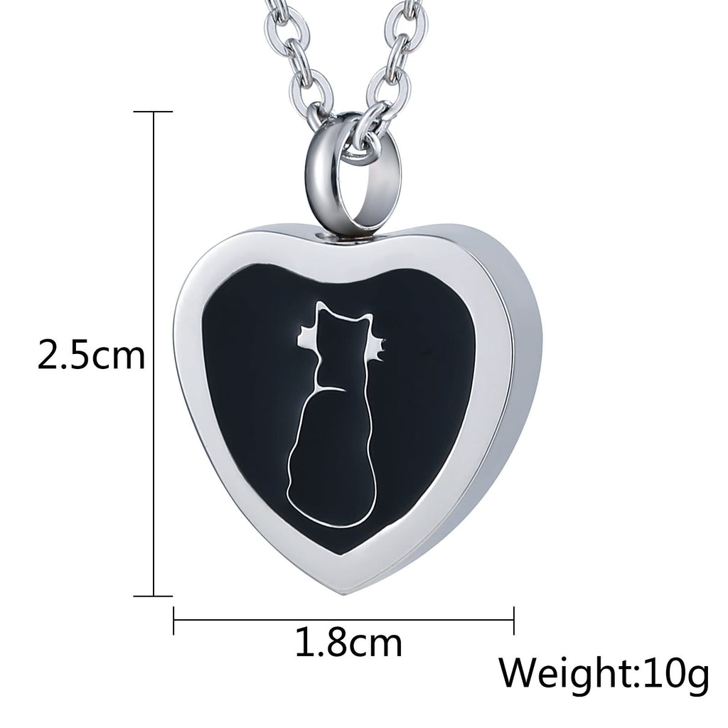 Cremation Ashes Necklace Pendant Stainless Steel Heart Engravable 1.8 x 2.5cm