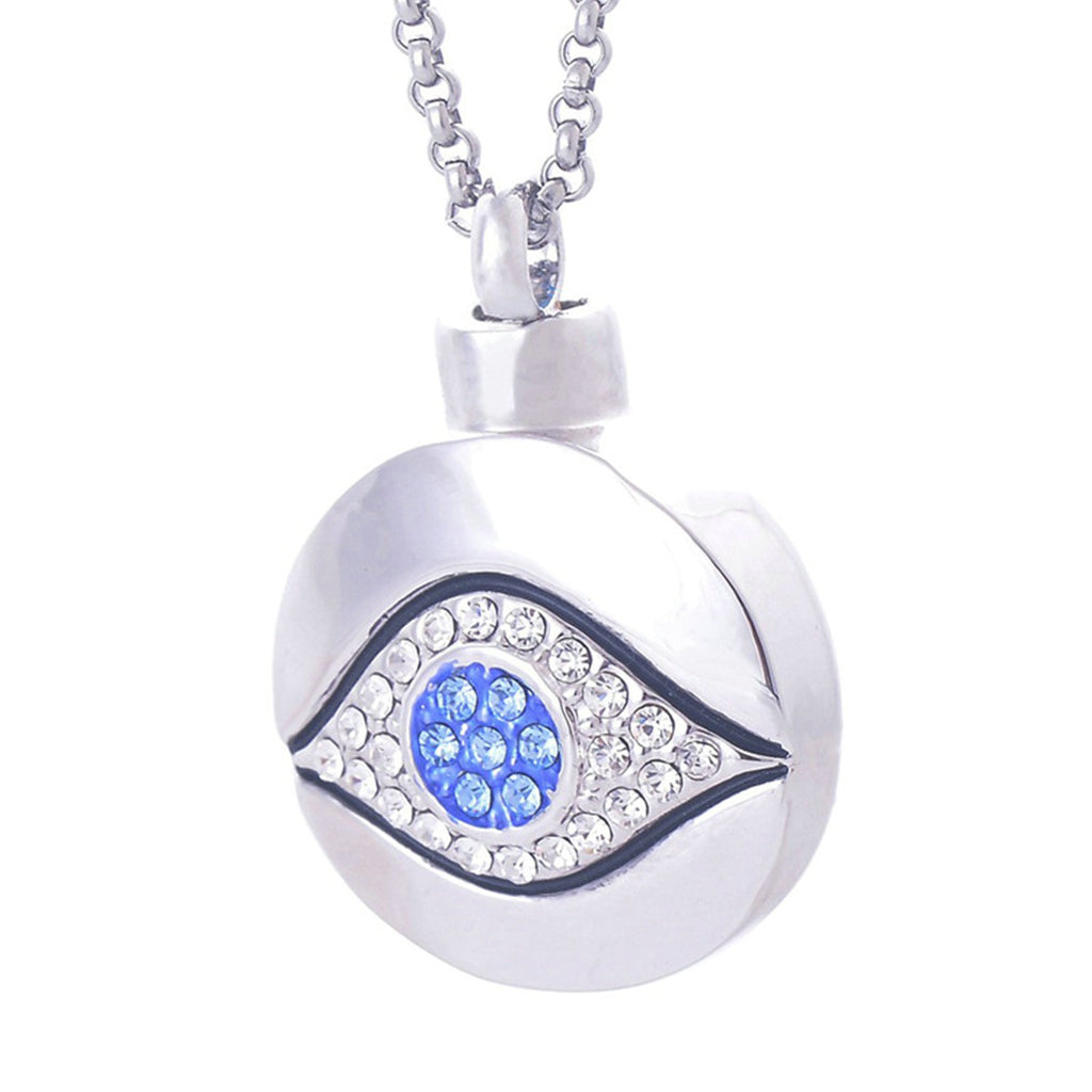 Ashes Pendant for Women Urn Necklace Stainless Steel Cubic Zirconia Eye Sliver