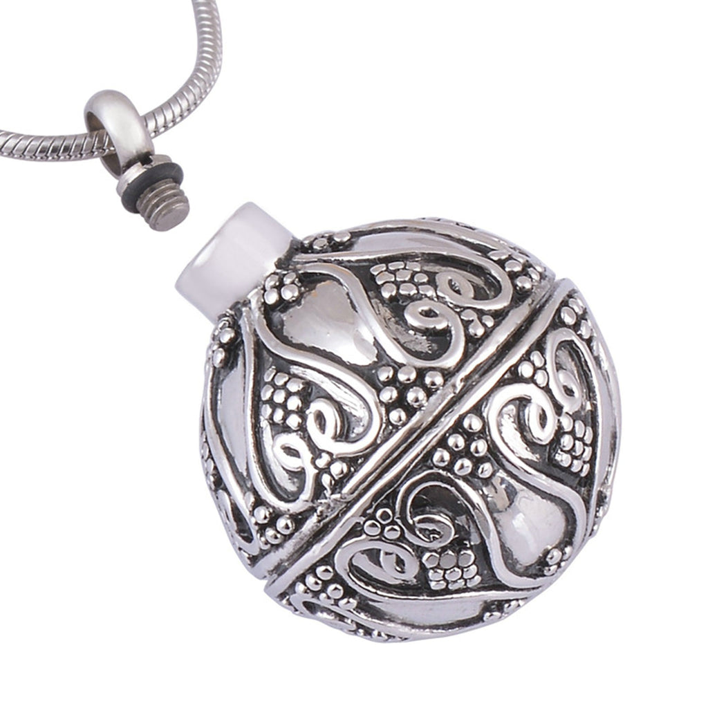 Urn Necklace Ashes Pendant for Women Stainless Steel Spherical Perfume Bottle Silver