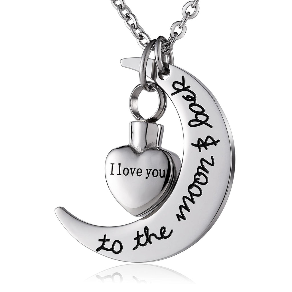 Ashes Pendant for Women Urn Necklace Stainless Steel Moon Heart Silver