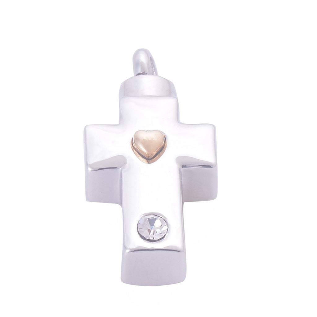 Urn Necklace Ashes Pendant for Women Stainless Steel Cubic Zirconia Cross Heart White
