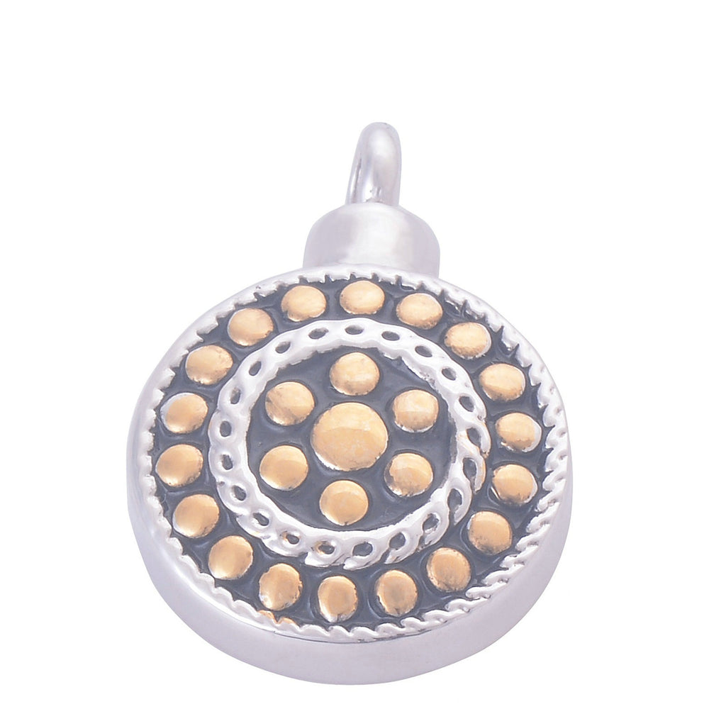 Ashes Pendant for Women Urn Necklace Stainless Steel Round Dot Tag Gold