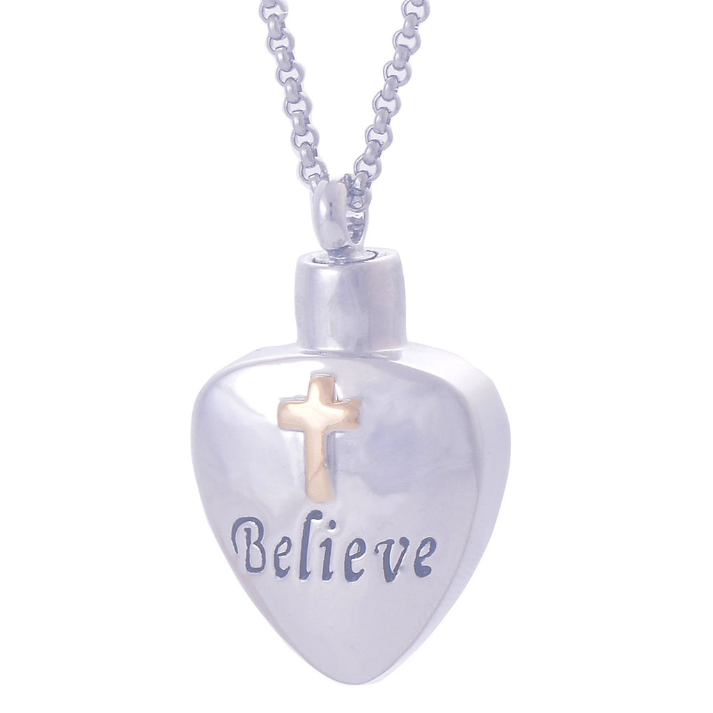 Ashes Pendant for Women Urn Necklace Stainless Steel Cross Heart Silver