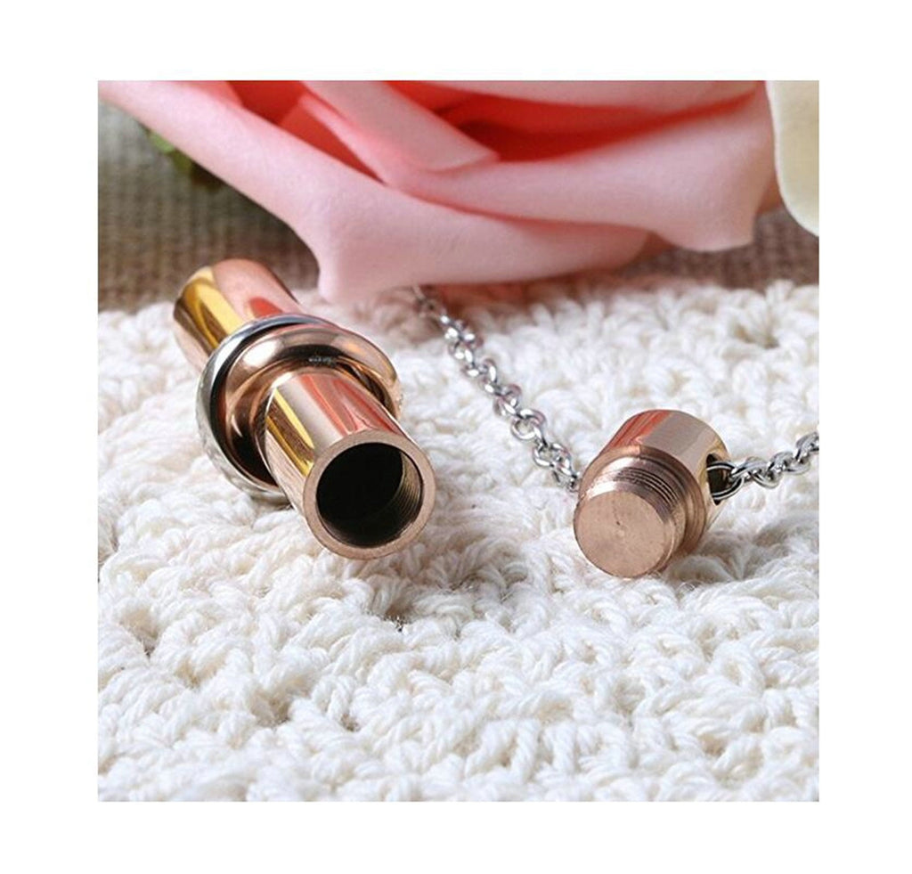 Stainless Steel ecklace Together Forever Perfume Bottle Gold Engraved