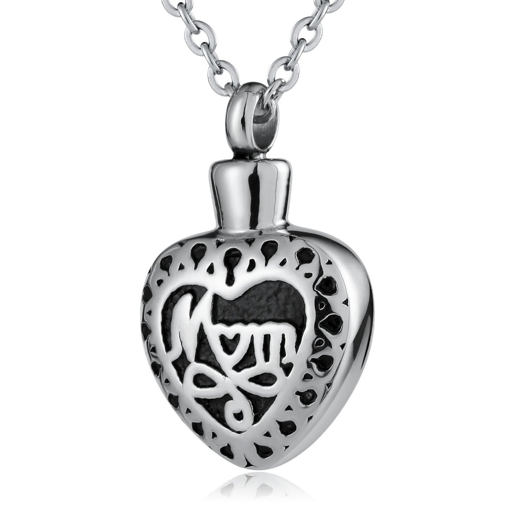 Urn Necklace Ashes Pendant for Women Stainless Steel Heart Pendant Engraved Mom Silver