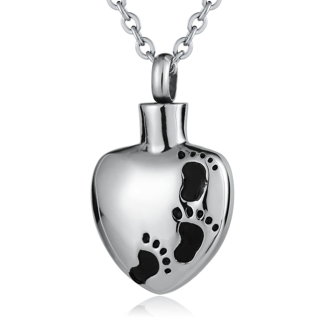 Urn Necklace Ashes Pendant for Women Stainless Steel Heart Pendant Footprint Silver