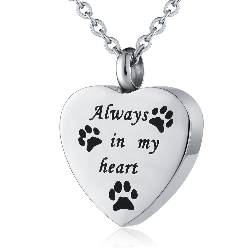 Urn Necklace Cremation Pendant Stainless Steel for Women Paw Footprint Heart Silver
