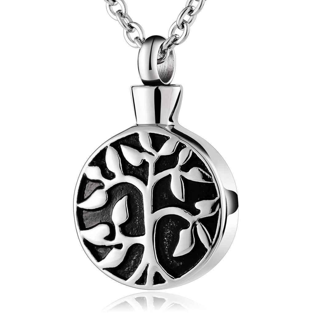 Ashes Necklace for Women Urn Pendant Stainless Steel Tree Of Life Silver