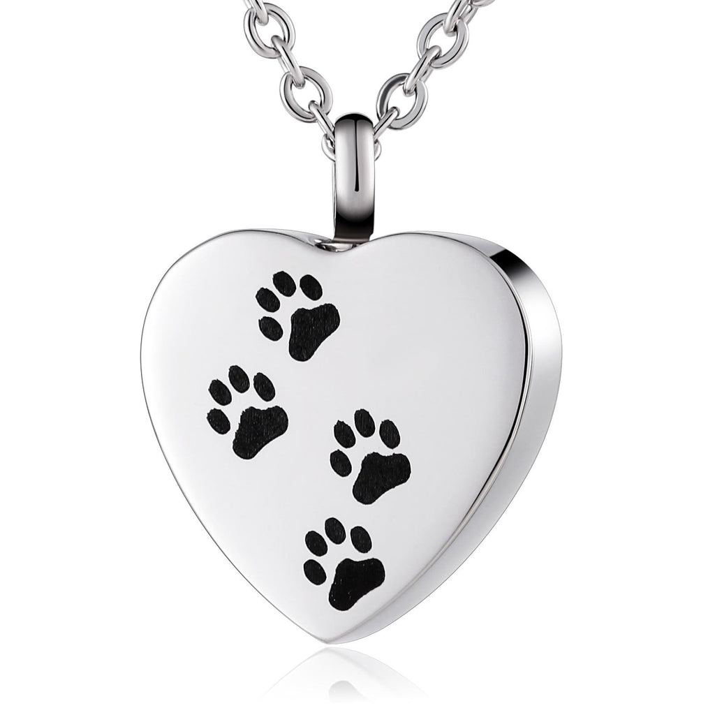 Ashes Necklace Women Urn Necklace Stainless Steel Dog Paw Footprint Silver