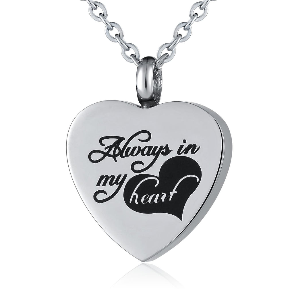 Ashes Necklace Stainless Steel Always In My Heart Silver