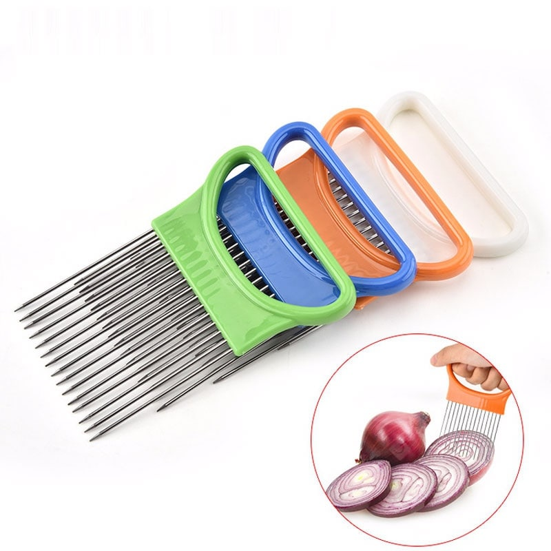 4Pack Onion Tomato Vegetables Slicer Cutting Aid Holder Stainless steel Slicing Cutter Cookware