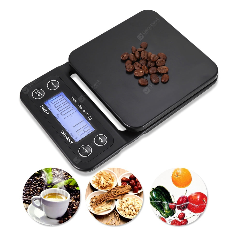 Digital Kitchen Food Coffee Weighing Scale Timer with Back-lit LCD Display Cookware